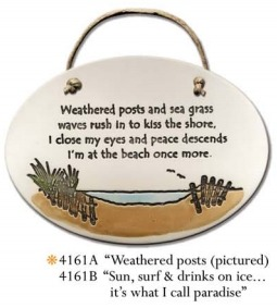 August Ceramics 4161A Beach posts Weathered posts and beach greass Oval Plaque