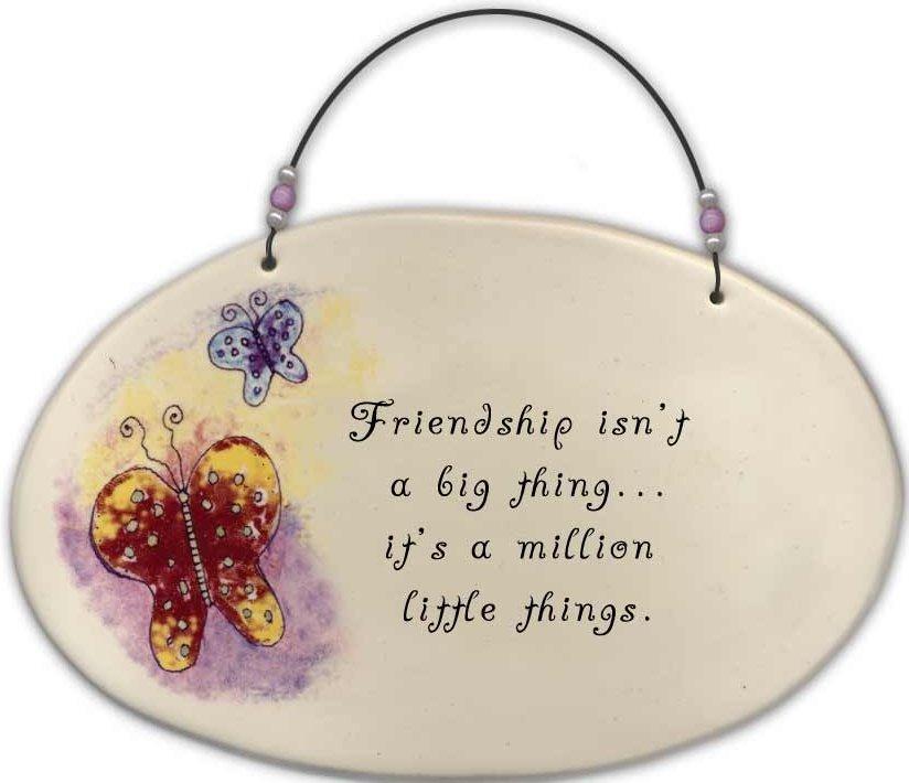 August Ceramics 4505C Butterflies 'Friendship isn't a big thing ' Beaded Plaque