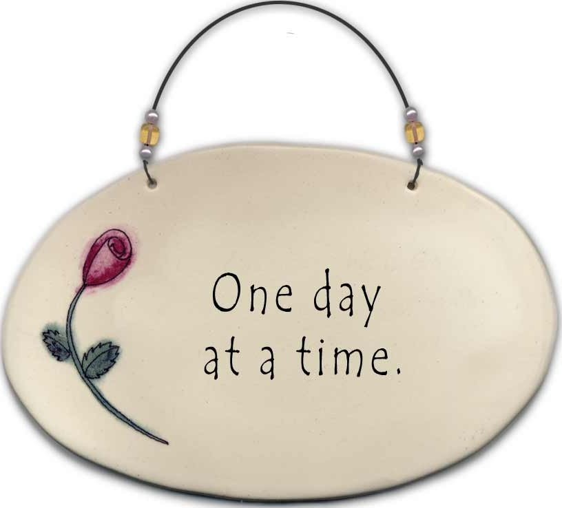 August Ceramics 4506D Rose One day at time Beaded Plaque
