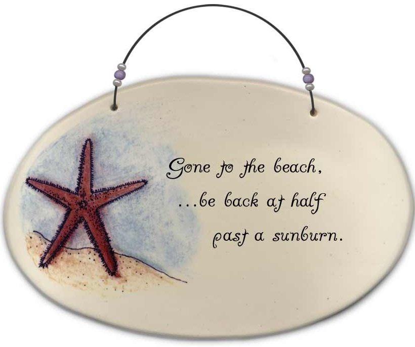 August Ceramics 4509C Starfish Gone to the beach sunburn Beaded Plaque