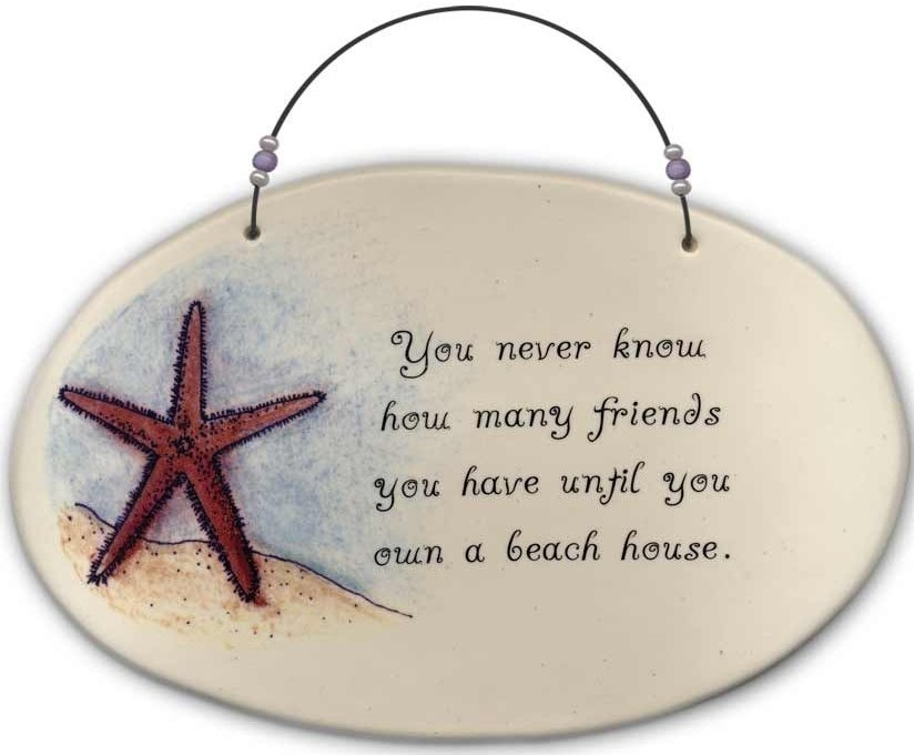 August Ceramics 4509E Starfish You never know how many friends you have Beaded Plaque