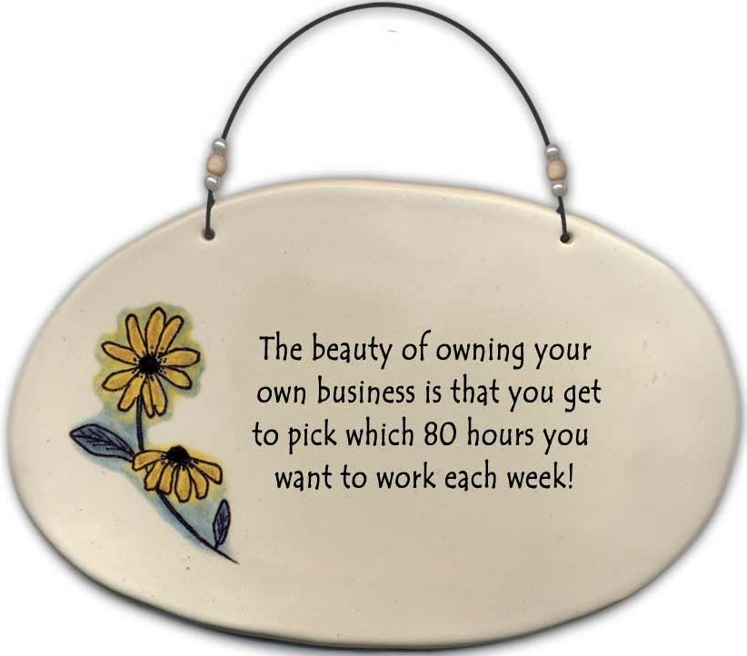 August Ceramics 4520B Black eyed susan 'The beauty of owning your own business ' Beaded Plaque