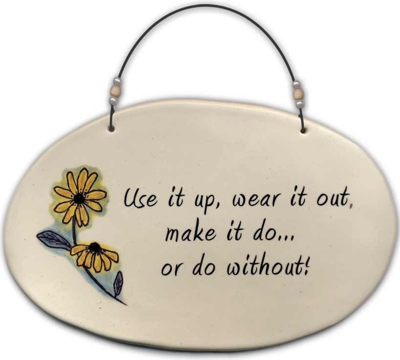 August Ceramics 4520D Black eyed susan 'Use it up wear it out ' Beaded Plaque