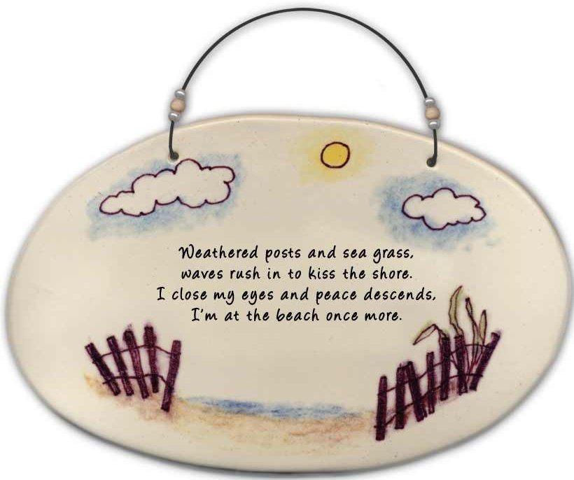 August Ceramics 4530C Beach fence ' Weathered posts and sea grass ' Beaded Plaque