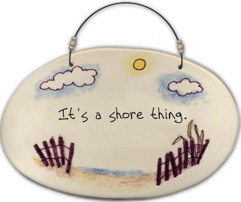August Ceramics 4530D Beach fence 'It's a shore thing' Beaded Plaque