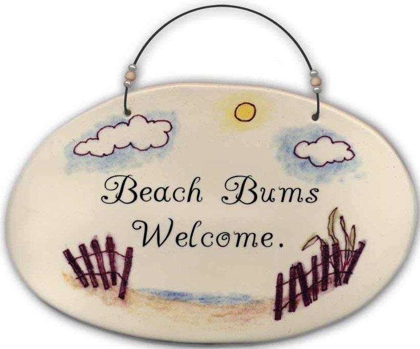 August Ceramics 4530E Beach fence 'Beach Bums Welcome Beaded Plaque