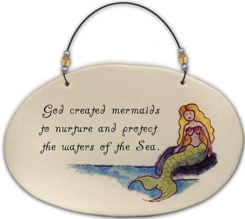 August Ceramics 4531F God created mermaids to nurture Beaded Plaque
