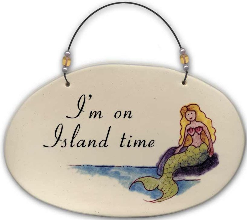 August Ceramics 4531G I'm on Island time Beaded Plaque