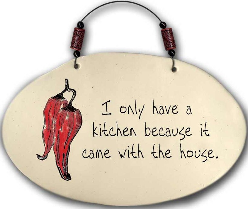 August Ceramics 4551B Chili Pepper - I only have a kitchen Beaded Plaque