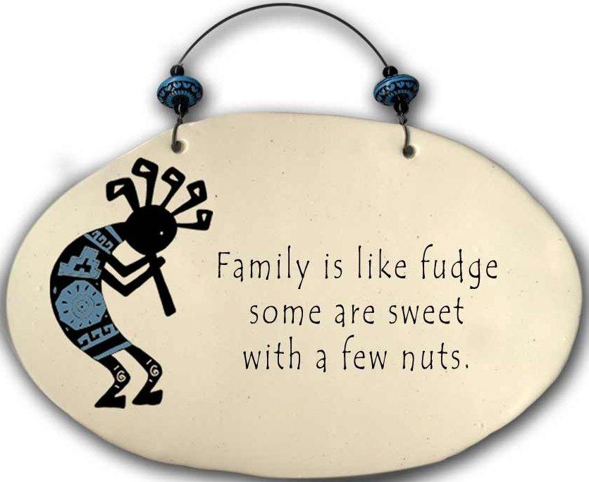 August Ceramics 4552D Kokopelli - Family is like fudge Beaded Plaque