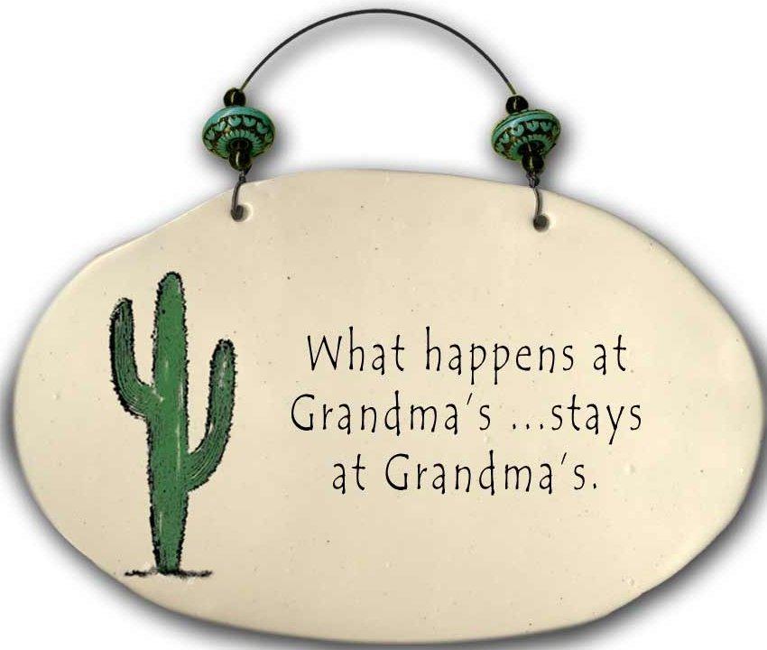 August Ceramics 4553C Cactus - What happens at Grandma's Beaded Plaque