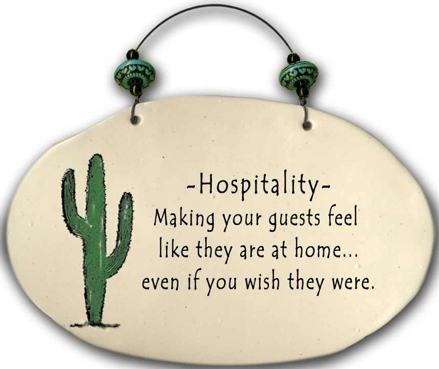 August Ceramics 4553J Hospitality has taught me Beaded Plaque