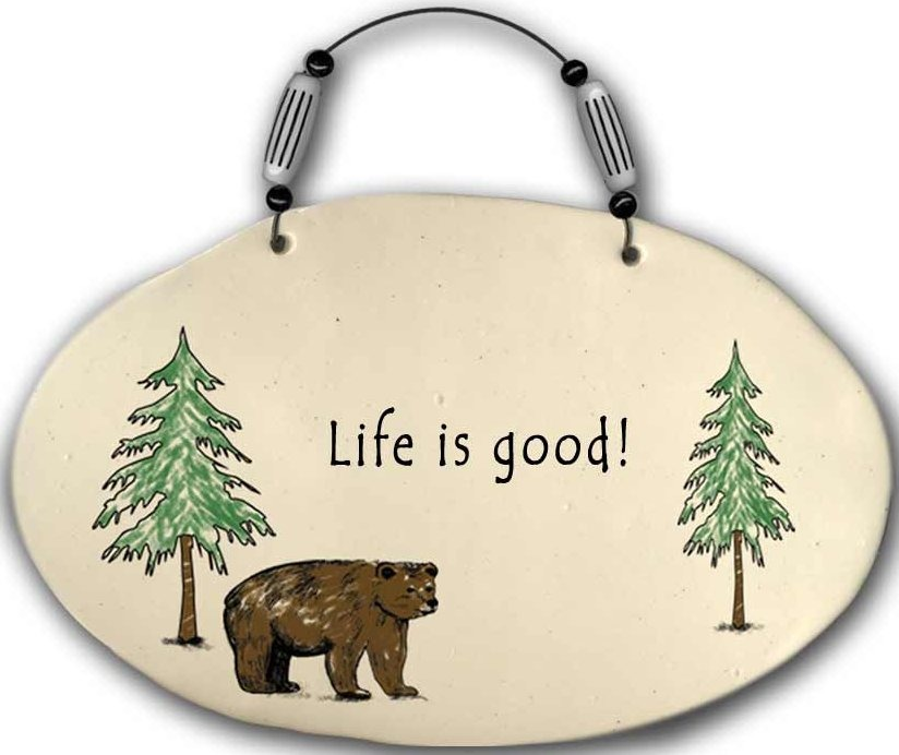 August Ceramics 4555A Life is good Beaded Plaque