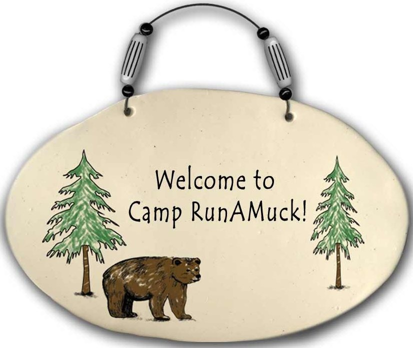 August Ceramics 4555D Bear - Welcome to camp Runamuck Beaded Plaque