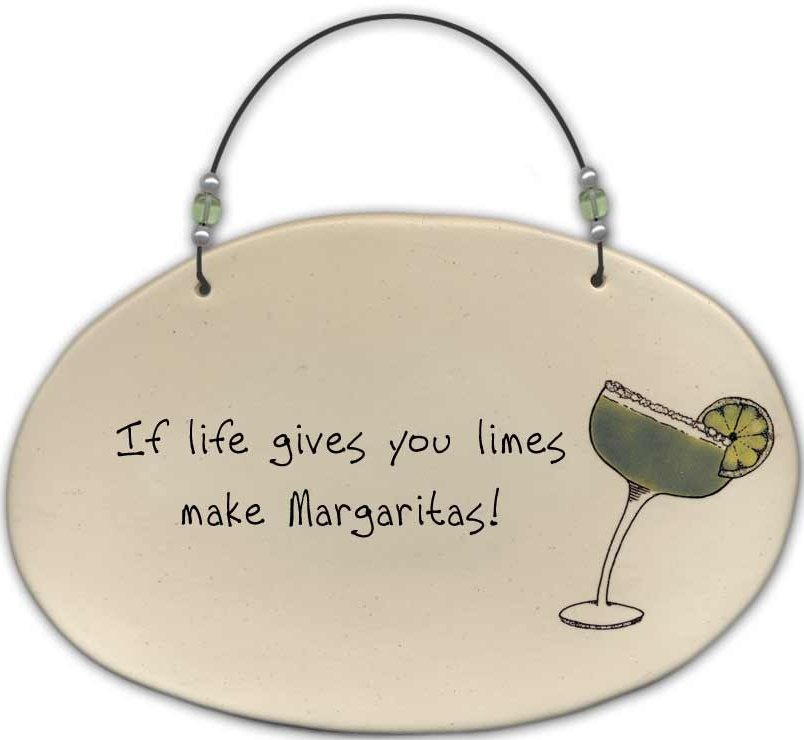 August Ceramics 4556A Margarita - If life gives you limes Beaded Plaque
