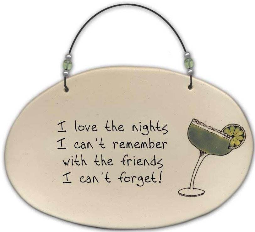 August Ceramics 4556C Margarita - I love the nights Beaded Plaque