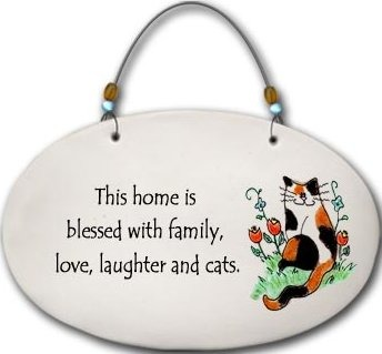 August Ceramics 4559C Cat If you are not going to talk Beaded Plaque