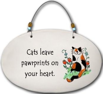 August Ceramics 4559E Cat Cats leave pawprints on your heart. Beaded Plaque
