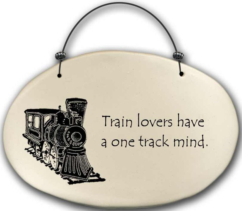 August Ceramics 4570A Train - Train lovers have a one track mind Beaded Plaque