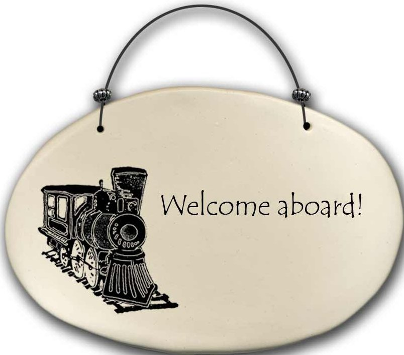 August Ceramics 4570B Train - A man travels the world over Beaded Plaque