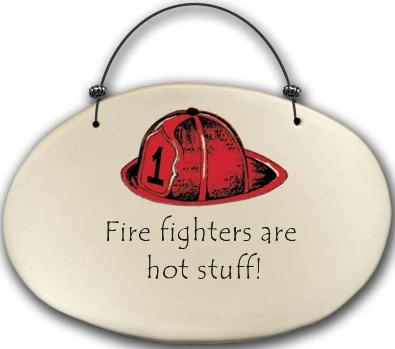August Ceramics 4571A Fireman hat - Fire fighters are hot stuff Beaded Plaque