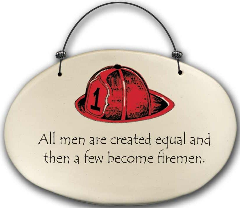 August Ceramics 4571B Fireman hat - All men are created equal Beaded Plaque