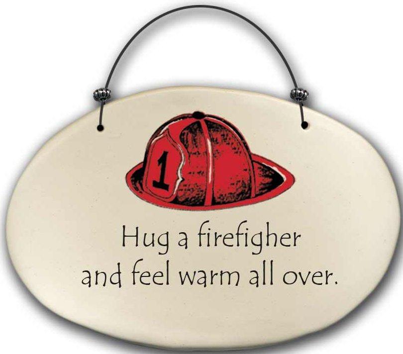 August Ceramics 4571C Fireman hat - Hug a firefighter Beaded Plaque