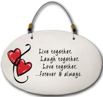 August Ceramics 4575A Hearts Live together Laugh together Beaded Plaque