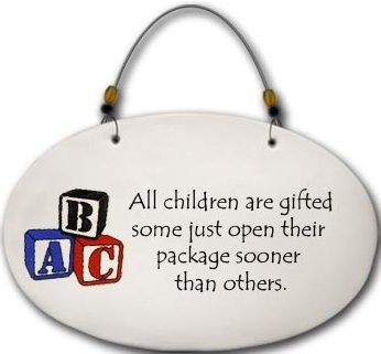 August Ceramics 4577A Blocks All children are gifted Beaded Plaque