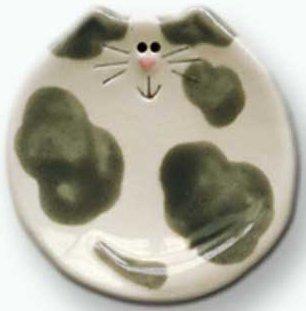 August Ceramics 5030G Spots Gray Soapdish