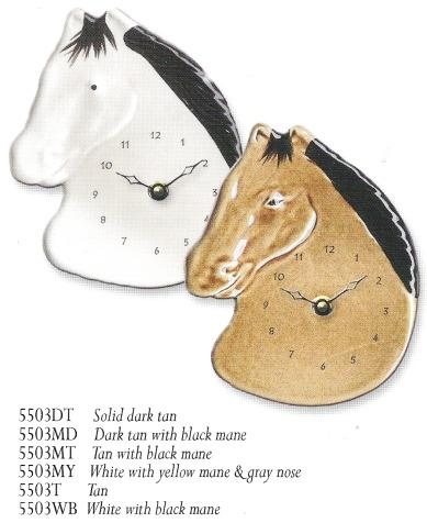 August Ceramics 5503MT Tan with Black Mane Clock