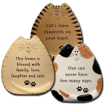 August Ceramics 5831 Cat shaped Plaque Cat NO VERSE Plaque