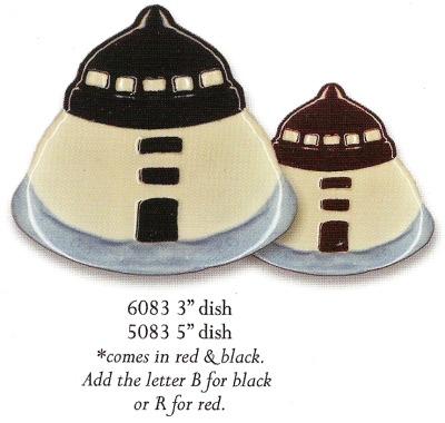 August Ceramics 6083R Lighthouse RED Mini Dish