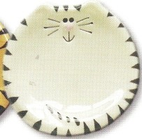 August Ceramics 7527WB Tiger Black White Feeding Dishes