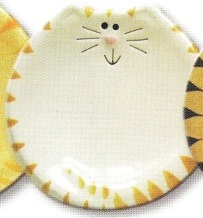 August Ceramics 7527WY Tiger Yellowith White Feeding Dishes