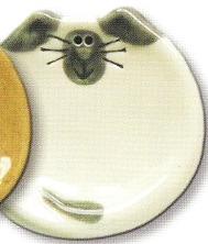 August Ceramics 7528W Siamese White Feeding Dishes