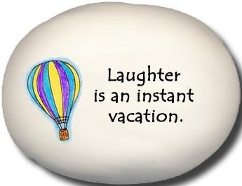 August Ceramics 8119C Hot air balloon - Laughter is an instant vacation Mini Rock