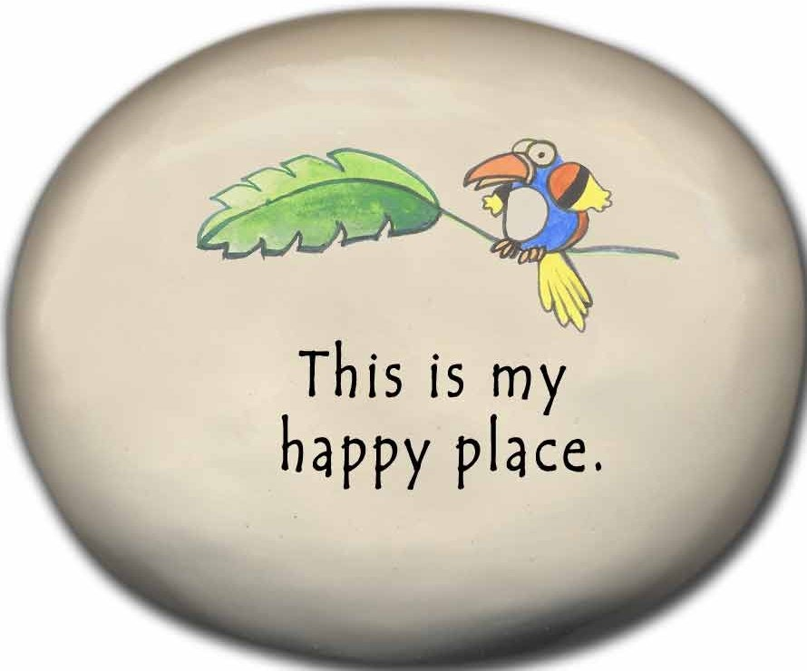 August Ceramics 8126A Toucan This is my happy place Mini Rock