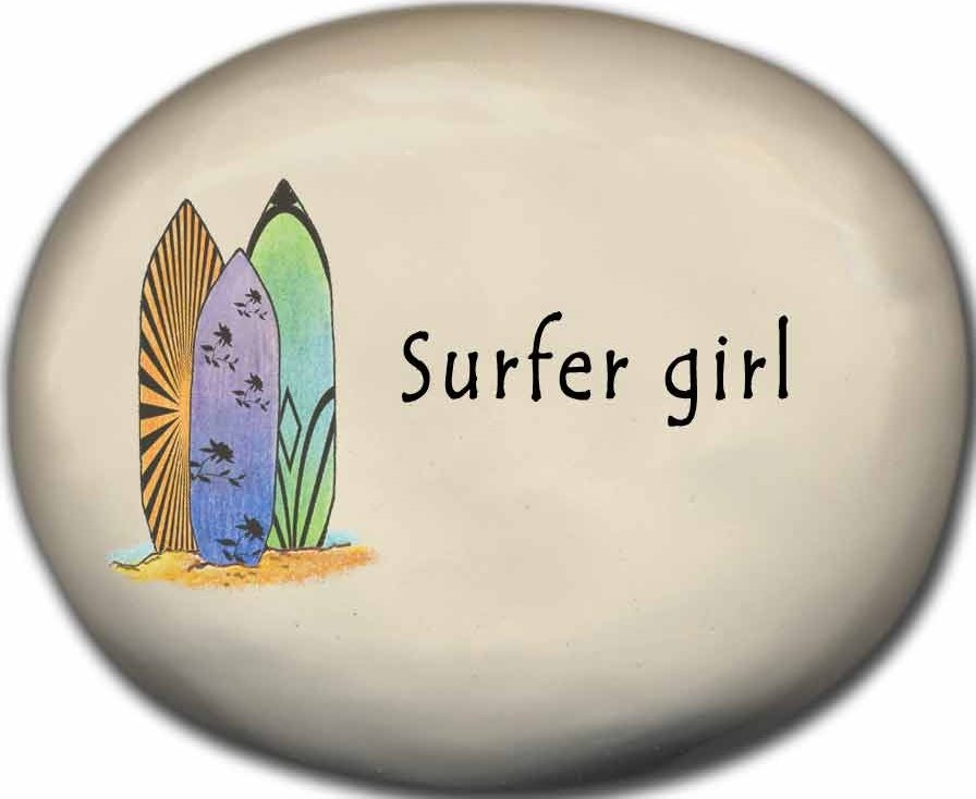 August Ceramics 8127D Surfboards Surfer Girl Mini Rock