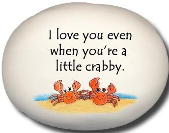 August Ceramics 8128C Crab couple I love you even when You're a little crabby Mini Rock