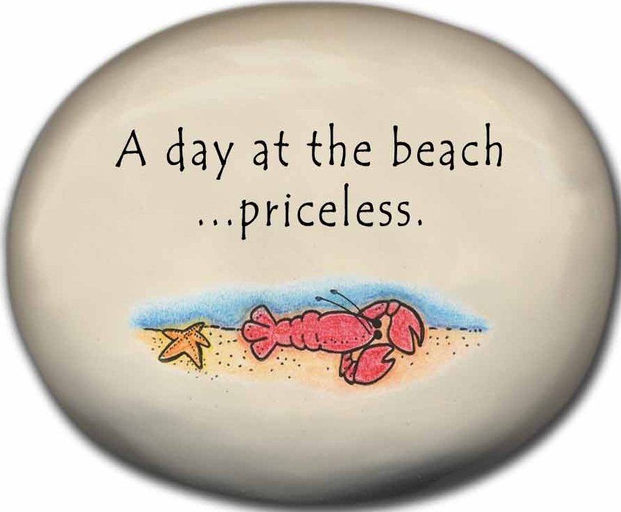 August Ceramics 8129B Lobster A Day at the p beach priceless Mini Rock