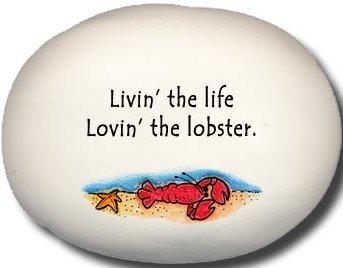 August Ceramics 8129C Lobster in Sea Livin the life lovin the lobster Mini Rock