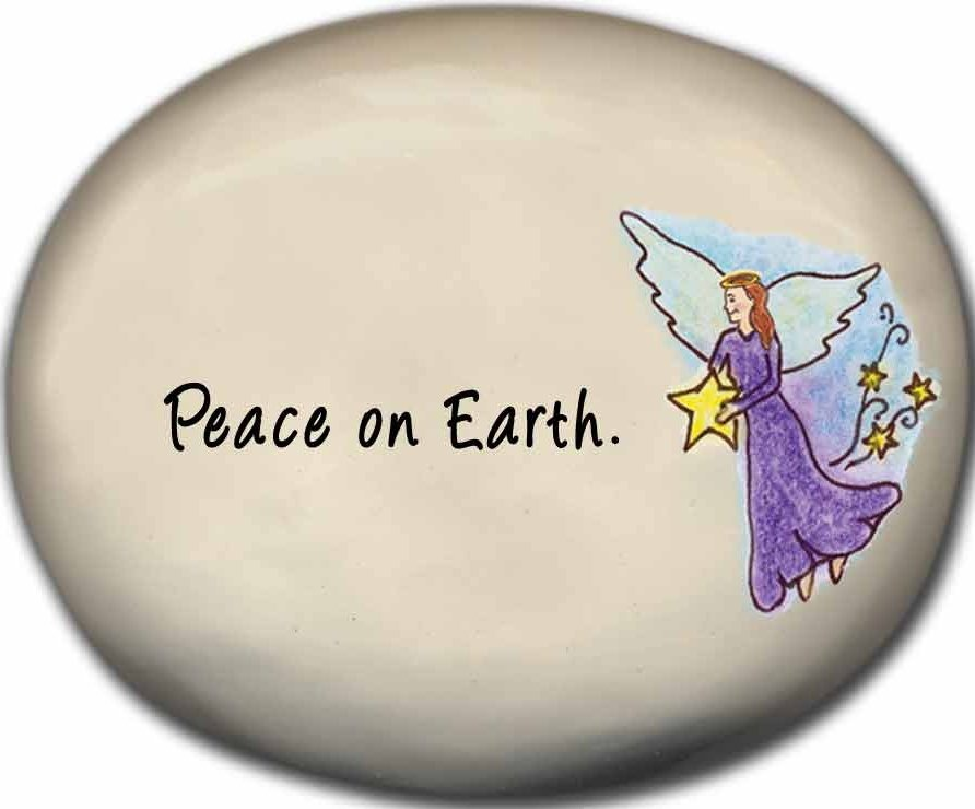 August Ceramics 8140C Angel with star Peace on Earth Mini Rock