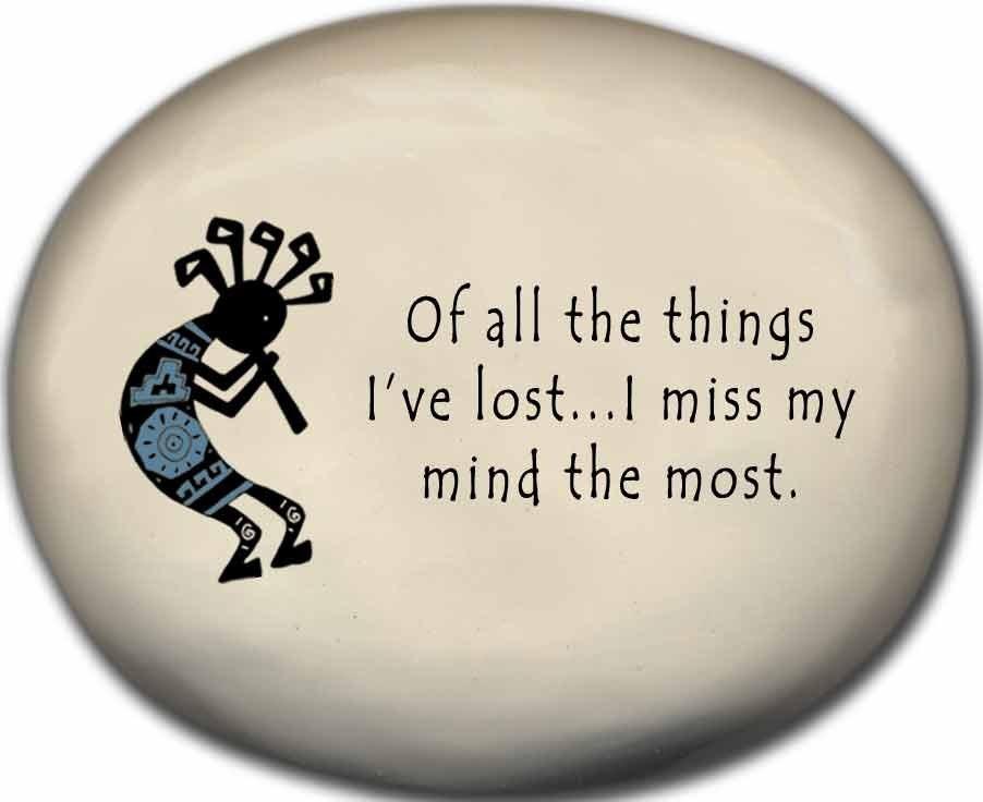 August Ceramics 8152B Kokopelli - of all the things I've lost I miss my mind the most Mini Rock