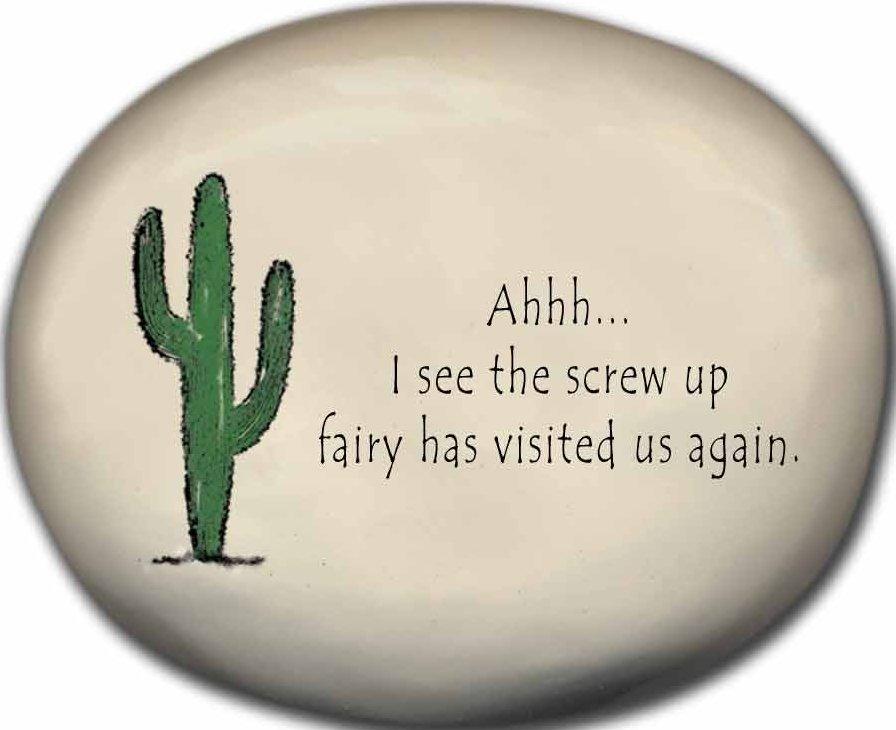 August Ceramics 8153G Cactus - Ahhh I see the screw up fairy Mini Rock
