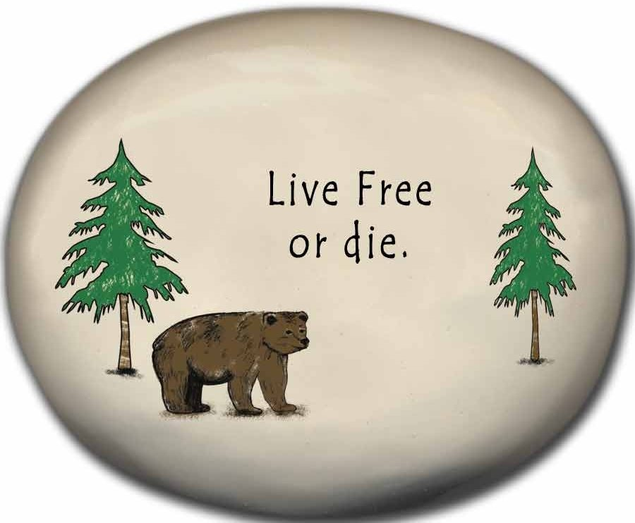 August Ceramics 8155B Bear - Live free or die Mini Rock