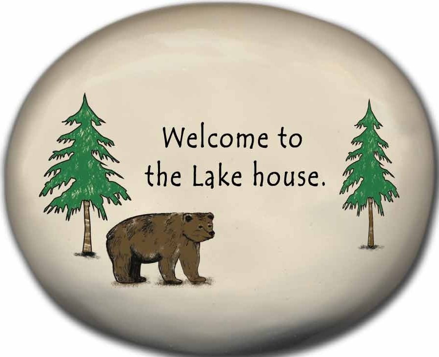 August Ceramics 8155C Bear - Welcome to the Lake house Mini Rock