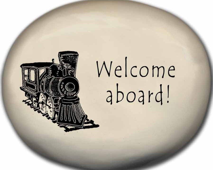August Ceramics 8170B Train - Welcome aboard Mini Rock