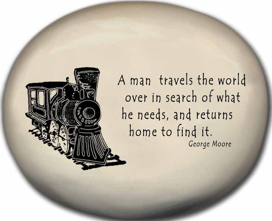 August Ceramics 8170C Train - A man travels the world over Mini Rock