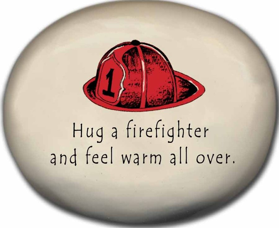 August Ceramics 8171C Fire hat Hug a firefighter and feel warm all over Mini Rock